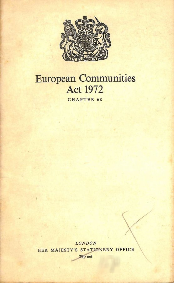 Image for The European Communities Act 1972: Elizabeth II Chapter 68