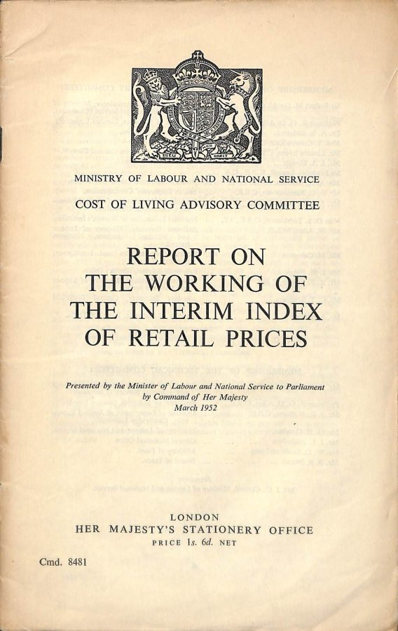 Image for Report on the Working of the Interim Index of Retail Prices