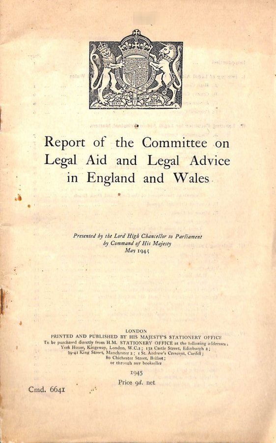 Image for Report of the Committee on Legal Aid and Legal Advice in England and Wales