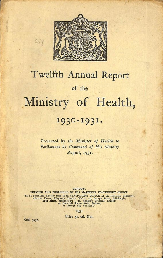 Image for Twelfth Annual Report of the Ministry of Health 1930-1931