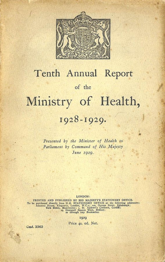 Image for Tenth Annual Report of the Ministry of Health 1929-1929