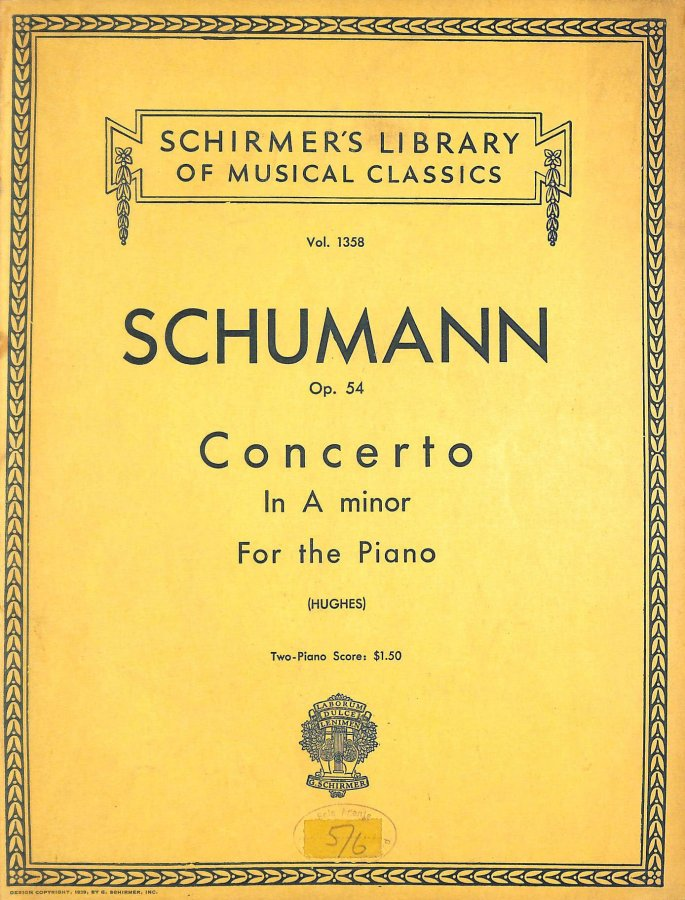 Image for Robert Schumann: Piano Concerto In A Minor Op.54 (Two Piano Score). Partitions pour Deux Pianos