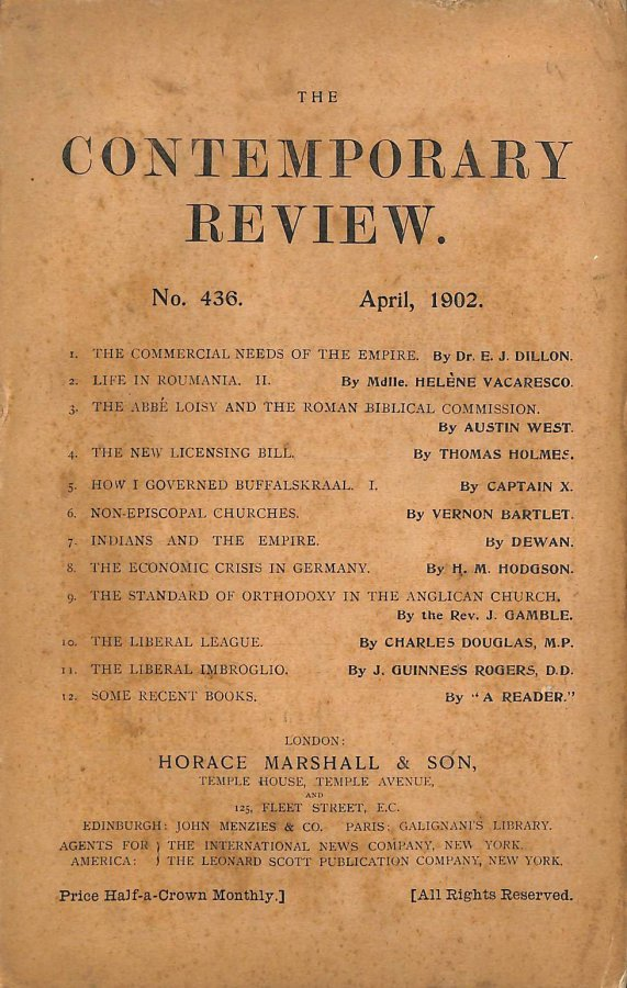 Image for The Contemporary Review No. 436 April 1902
