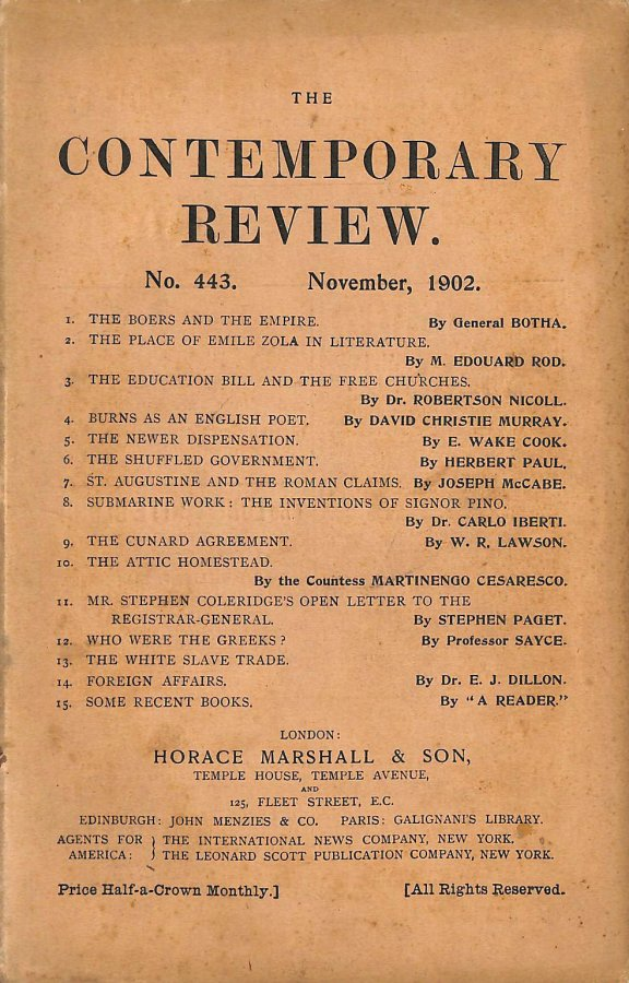 Image for The Contemporary Review No. 443 November 1902