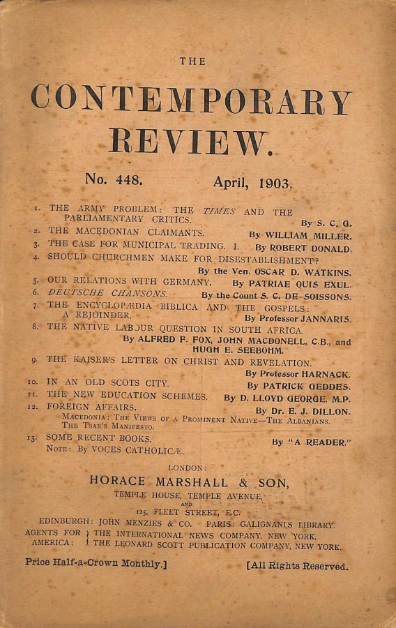 Image for The Contemporary Review No. 448 April 1903