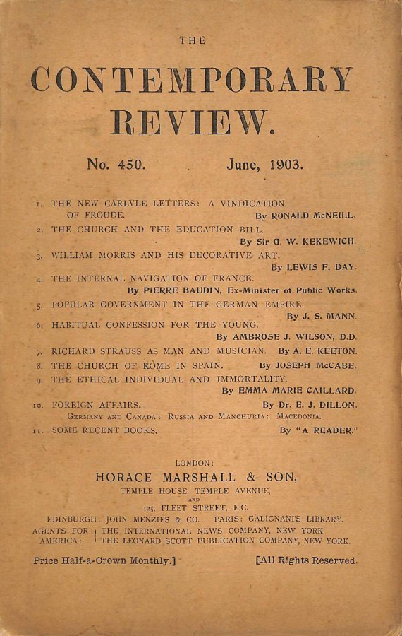 Image for The Contemporary Review No. 450 June 1903
