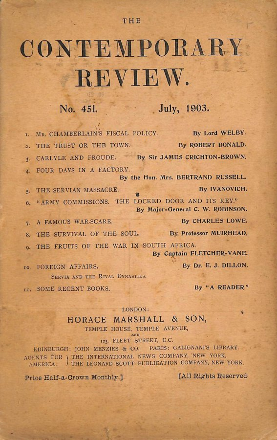 Image for The Contemporary Review No. 451 July 1903