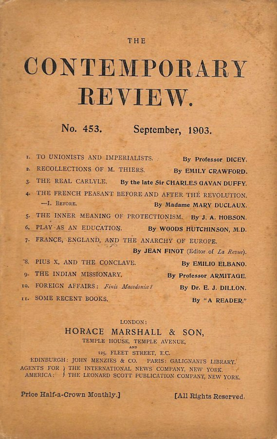 Image for The Contemporary Review No. 453 September 1903