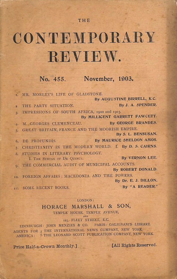 Image for The Contemporary Review No. 455 November 1903