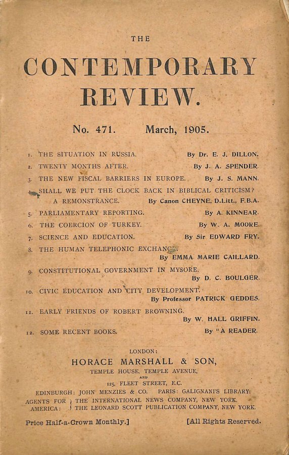 Image for The Contemporary Review No. 471 March 1905
