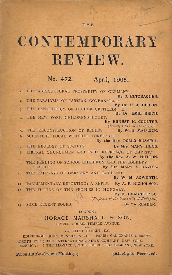 Image for The Contemporary Review No. 472 April 1905
