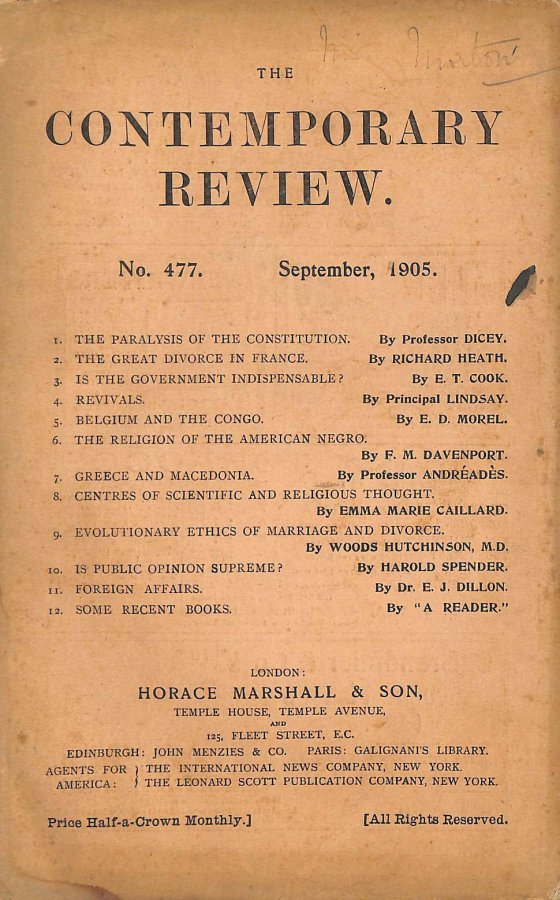Image for The Contemporary Review No. 477 September 1905