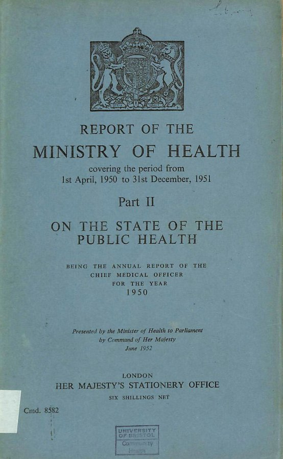 Image for Annual Report of the Chief Medical Officer of the Ministry of Health for the year 1950, Part II