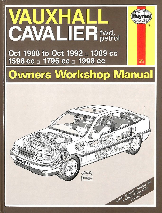 Image for Vauxhall Cavalier ('88 to '92) Owner's Workshop Manual