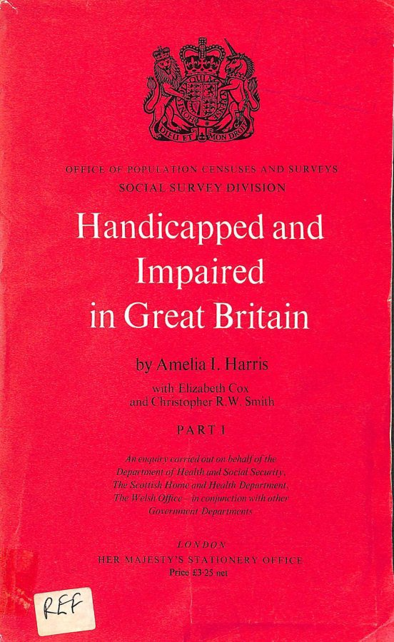 Image for Handicapped and Impaired in Great Britain: Pt. 1 (SS418, part 1)