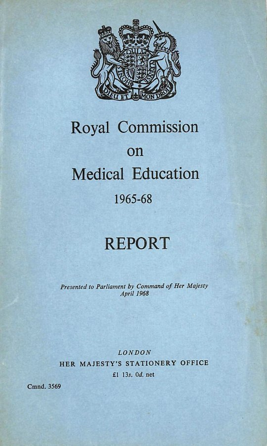 Image for Royal Commission on Medical Education 1965-68 Report