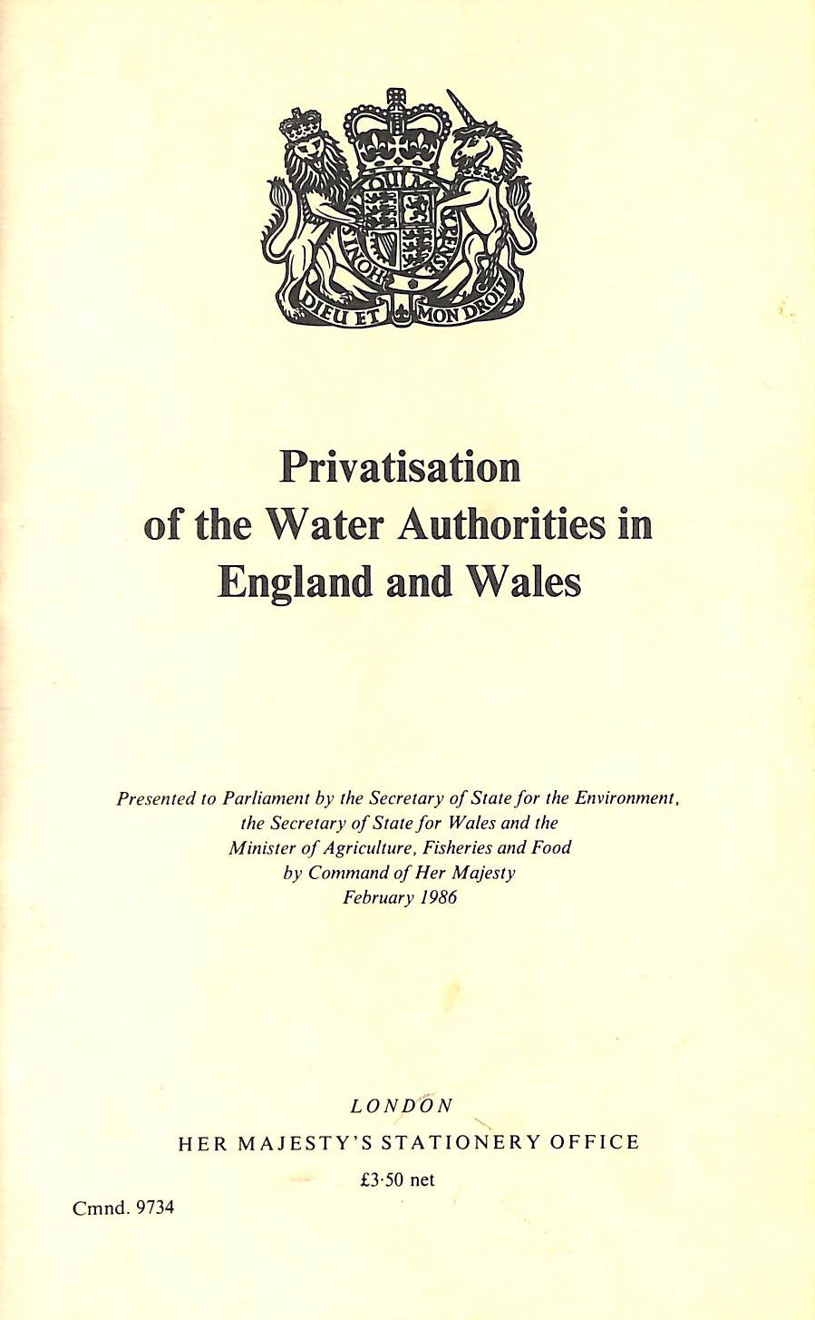 Image for Privatisation Of The Water Authorities In England And Wales (Cmnd.: 9734)