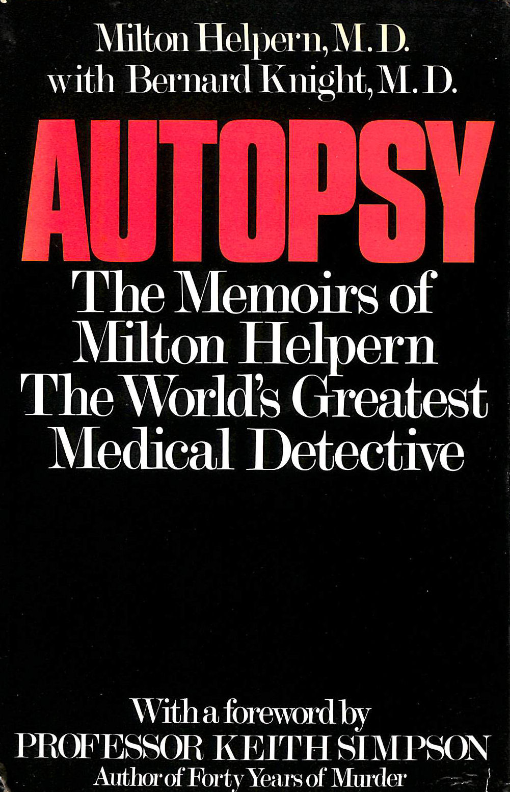 Image for Autopsy: Memoirs of Milton Helpern