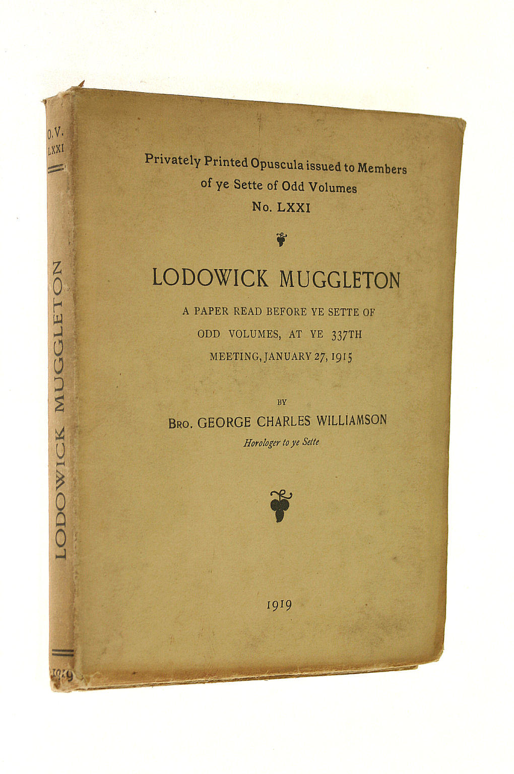 Image for Lodowick Muggleton; A Paper Read Before Ye Sette . January 27, 1915