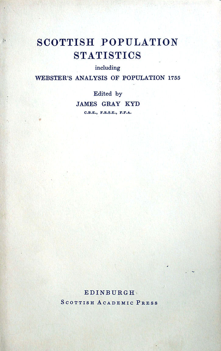 Image for Scottish Population Statistics including Webster's Analysis of Population 1755