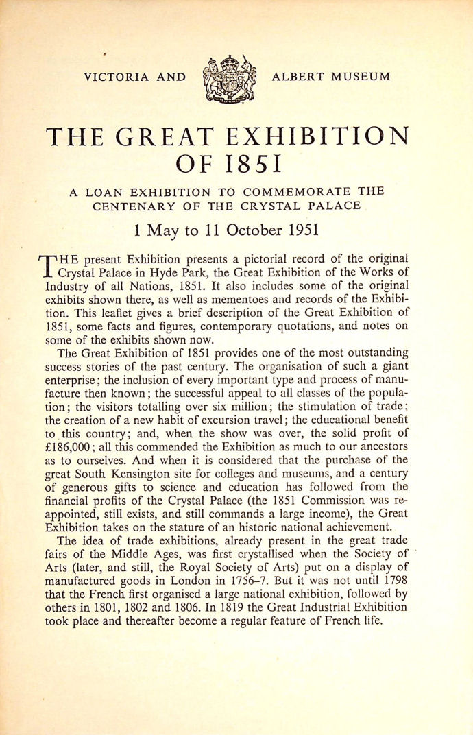 Image for Victoria And Albert Museum, The Great Exhibition Of 1851, A Loan Exhibition To Commemorate The Centenary Of The Crystal Palace 1 Of May To The 11 October 1951
