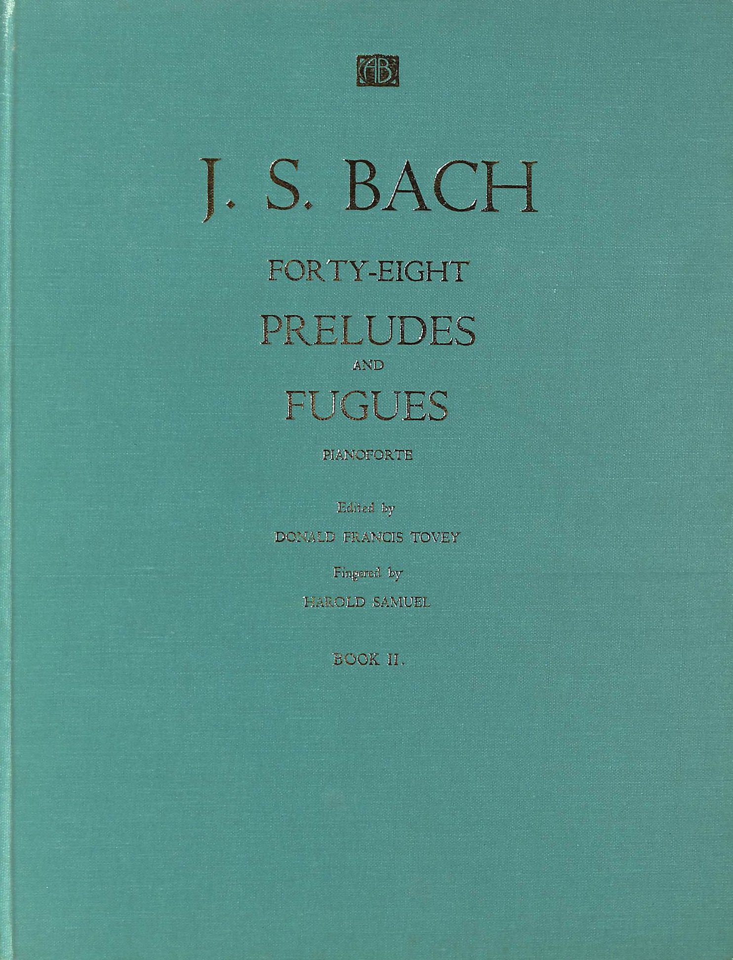 Image for Bach Forty-Eight Preludes and Fugues Book 2 (Tovey and Samuel)
